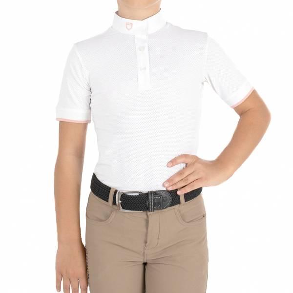 EQUESTRO 女童用比賽衫 (領口扣子設計/白色/8)