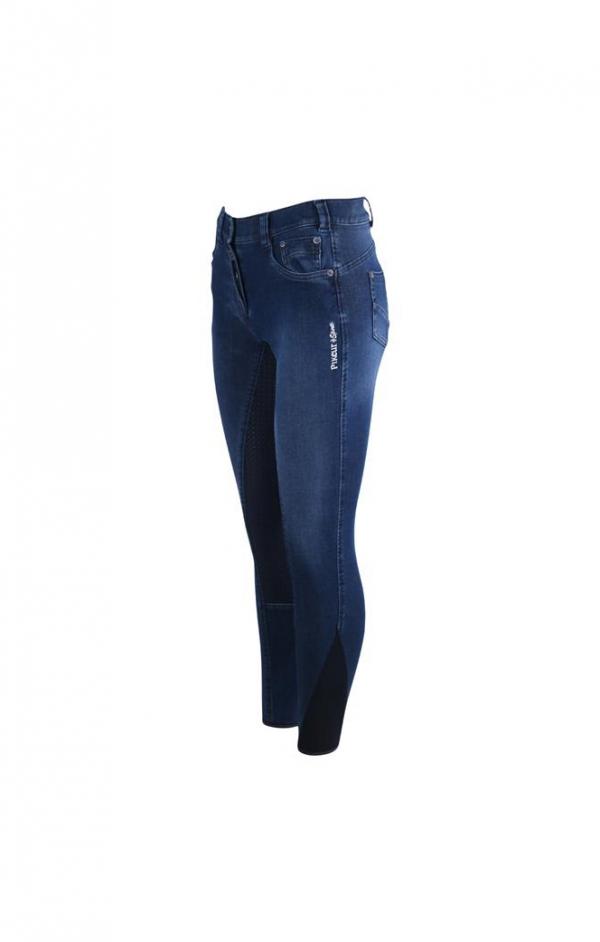 PIKEUR 女用牛仔馬褲 (止滑全皮/彈性縮口/3鈕扣設計/藍色)
