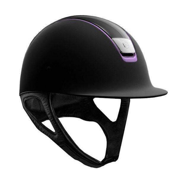 SAMSHIELD 訂製款騎士帽 (霧黑/粉紫飾框/亮黑頂/S) 不含帽襯,需另外加購