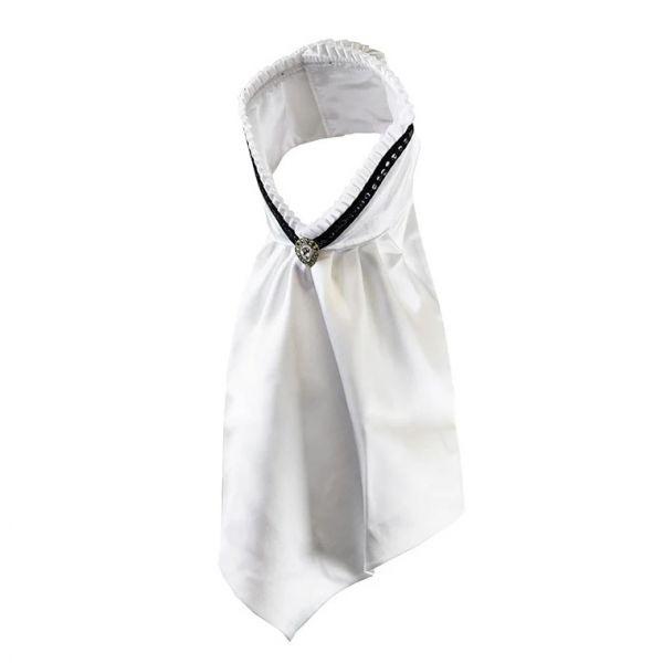 EQUESTRIAN STOCKHOLM 比賽用白色領巾 (馬場馬術/百褶/緞面/黑色飾邊)