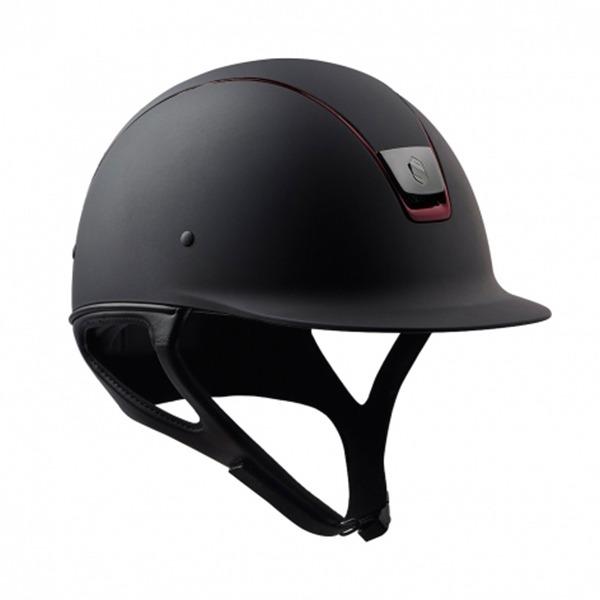 SAMSHIELD 訂製款騎士帽 (霧黑/酒紅色飾框/L) 不含帽襯,需另外加購