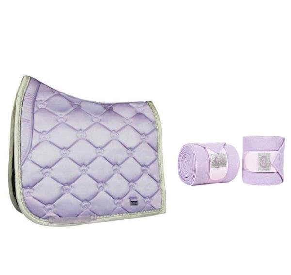 馬場馬術汗墊+繃帶套組 (粉紫色)