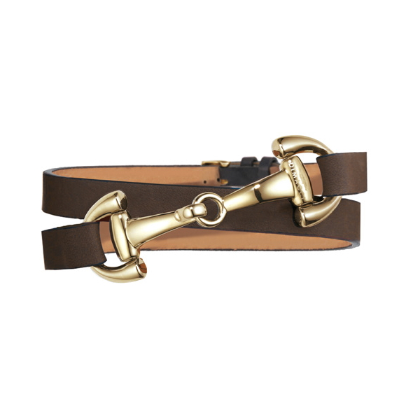 DIMACCI 皮革手環 (金色口銜造型/小牛皮/深棕色)