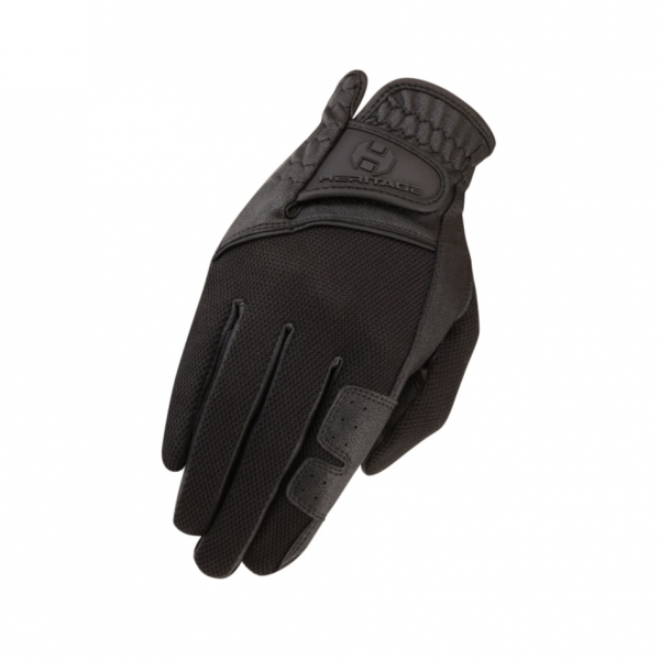 Heritage 騎馬專用手套 (掌心人造皮/黑色)