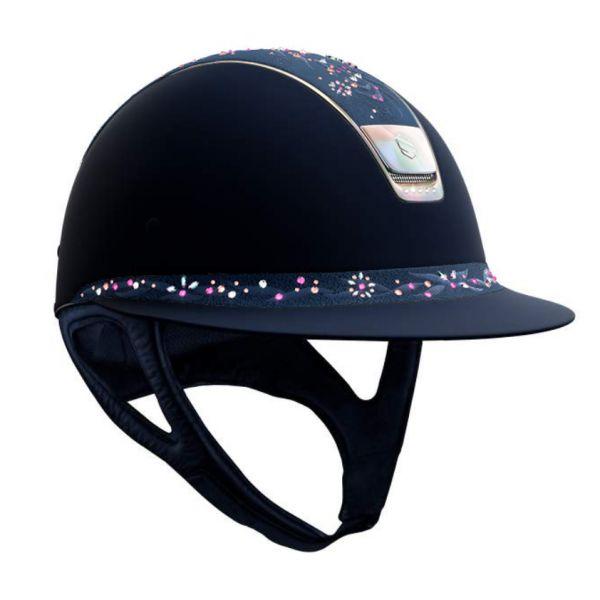 SAMSHIELD 訂製淑女款騎士帽 (寬帽沿/霧藍/類麂皮頂/花飾珍鑽/L) 不含帽襯,需另外加購