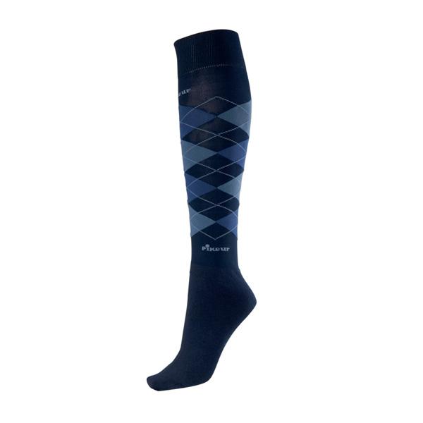 PIKEUR 騎馬長筒襪 (藍色格紋/尺寸35-40)