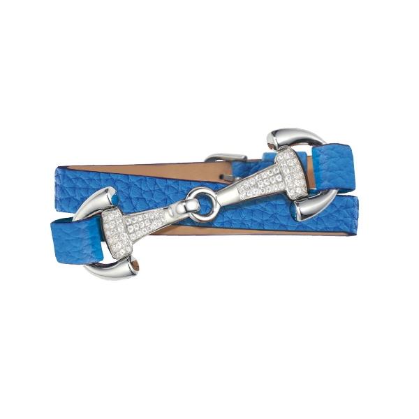 DIMACCI 皮革手環 (鑽飾口銜造型/小牛皮/荔枝紋/寶藍色)