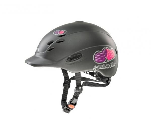UVEX 兒童透氣騎士帽 (愛心圖樣/黑灰色/XS)