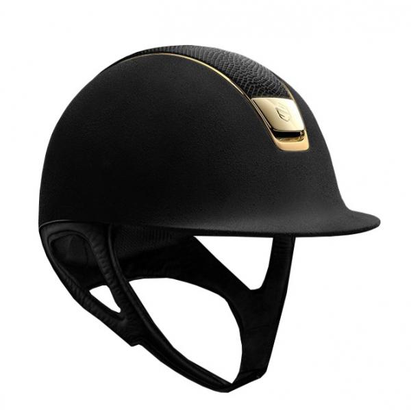 SAMSHIELD 訂製款騎士帽 (類麂皮面/蜥蜴皮帽頂/金色飾框/L) 不含帽襯,需另外加購