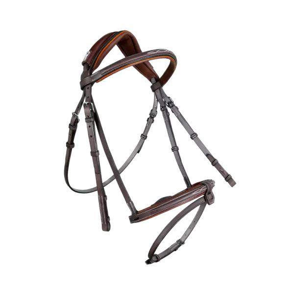 CWD 皮製韁繩 (客製款/深棕色/橘色飾條/FULL)