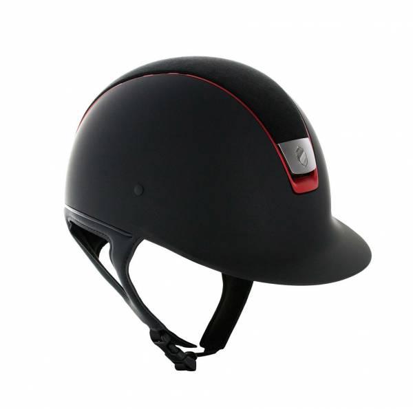 SAMSHIELD 訂製款騎士帽 (類麂皮帽頂/紅色飾框/M) 不含帽襯,需另外加購