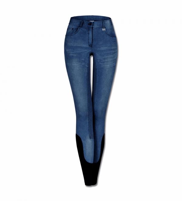 ELT 女童牛仔馬褲 (止滑全皮/彈性縮口/藍色)
