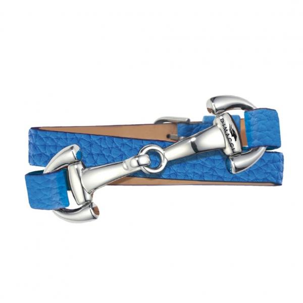 DIMACCI 皮革手環 (口銜造型/小牛皮/荔枝紋/藍色)