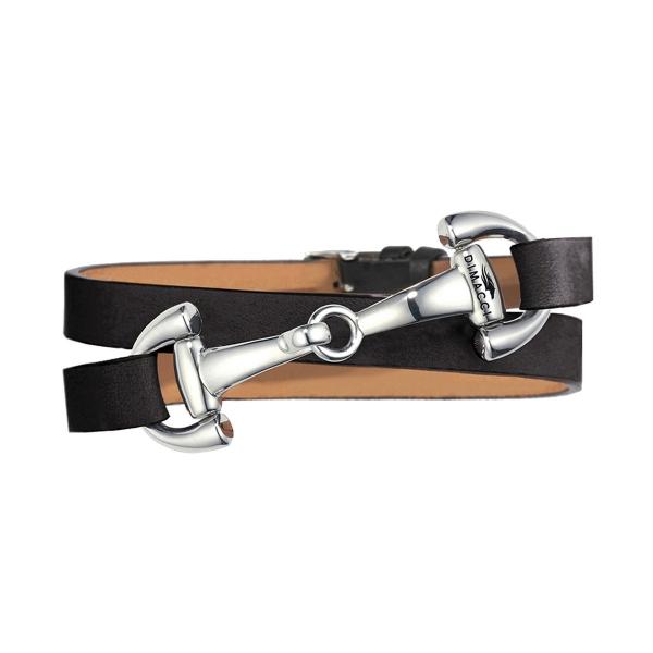 DIMACCI 皮革手環 (口銜造型/小牛皮/黑色)