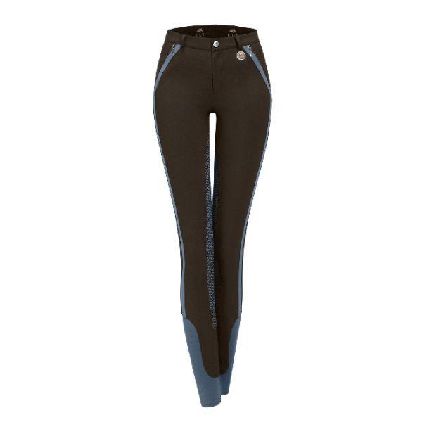 ELT 女用馬褲 (撞色款/止滑全皮/彈性縮口/棕色)