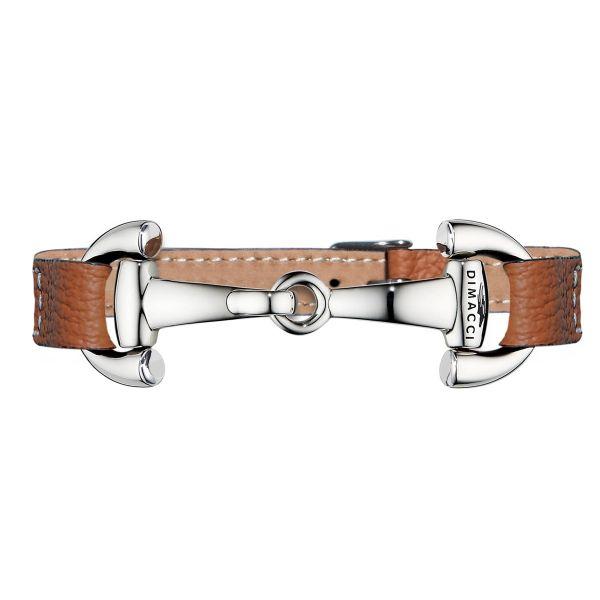 DIMACCI 皮革手環 (銀色口銜造型/小牛皮/荔枝紋/褐色)