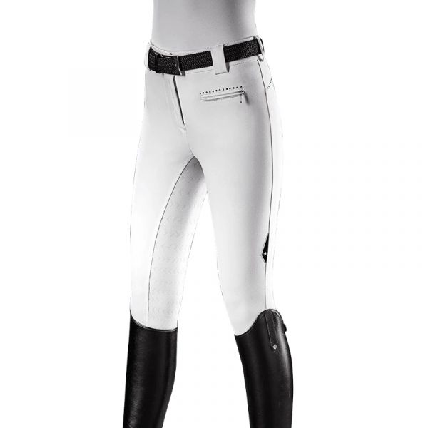 EQUILINE 女用馬褲 (止滑全皮/彈性縮口/高腰/白色)