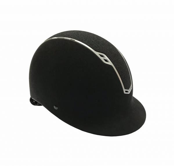 調整式透氣騎士帽 (黑皮盔/銀線框/黑細粒鑽)