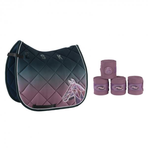 ESKADRON 馬場馬術汗墊+繃帶套組 (漸層灰紫色)