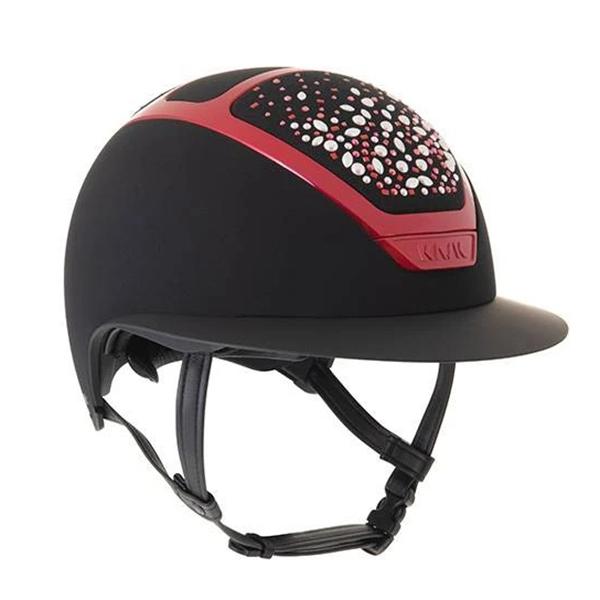 KASK 透氣騎士帽 (黑色/紅亮框/施華洛世奇珍珠水晶頂/M/57/58/59)