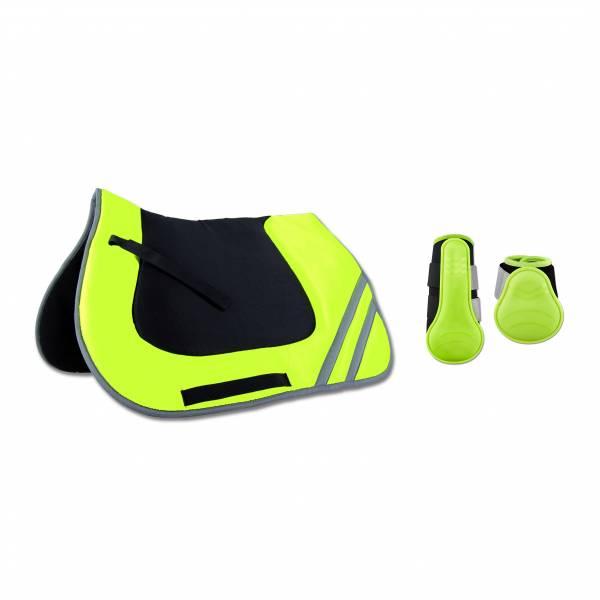 反光綜合汗墊+護具套組 (螢光黃)