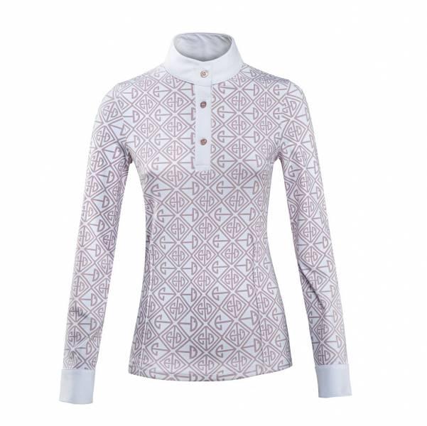 EQUILINE 女用長袖比賽衫 (粉藕色印花圖樣/S/白色)