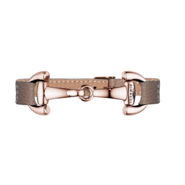 DIMACCI 皮革手環 (玫瑰金色口銜造型/小牛皮/荔枝紋/灰褐色)