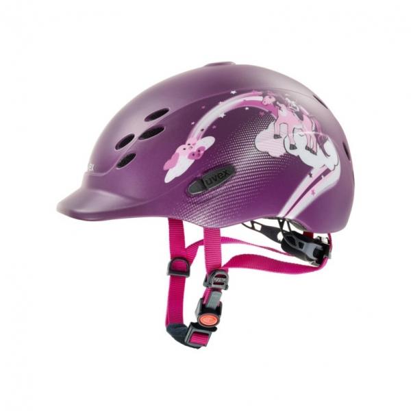 UVEX 兒童透氣騎士帽 (葡萄紫/彩虹馬圖樣/XS)