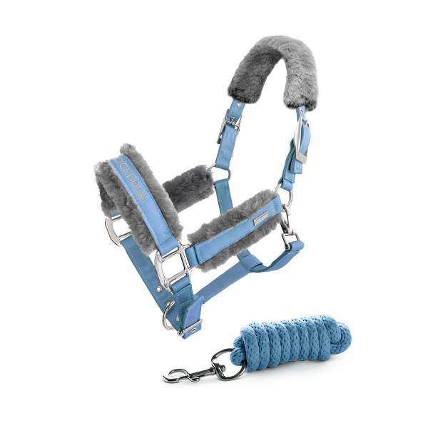 EQUESTRIAN STOCKHOLM 籠頭套組 (含牽馬繩/仿羊毛內襯/FULL/巴黎藍)