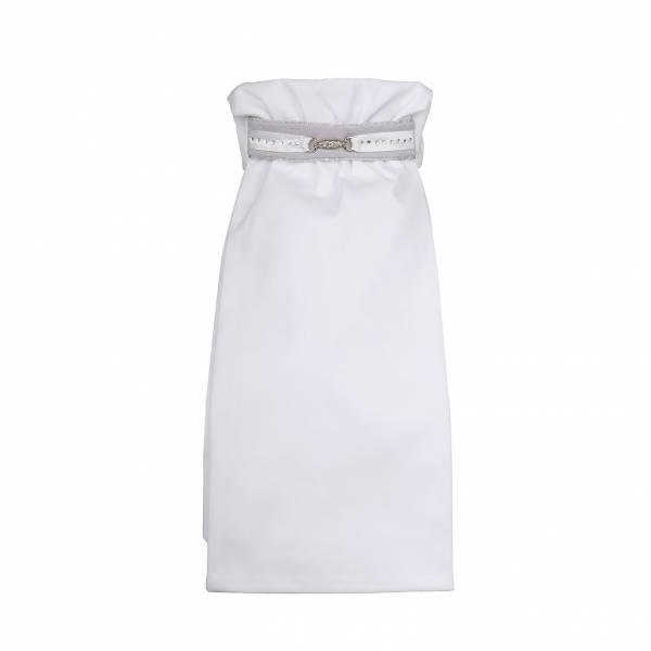 比賽用白色領巾 (馬場馬術/白色/水鑽飾條/M)