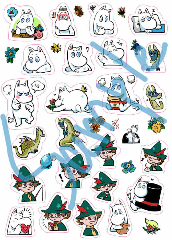 嚕嚕米與阿金可愛刀模貼紙 /嚕嚕米 周邊 BY:Mikey21 嚕嚕米 周邊 BY:Mikey21