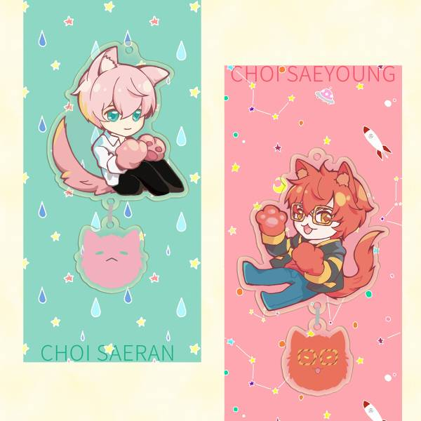 707 & RAY Kitty Acrylic Charms /Mystic Messenger Goods BY:蒼斐 神秘信使 Choi twinsxMC 漫本 BY:蒼斐