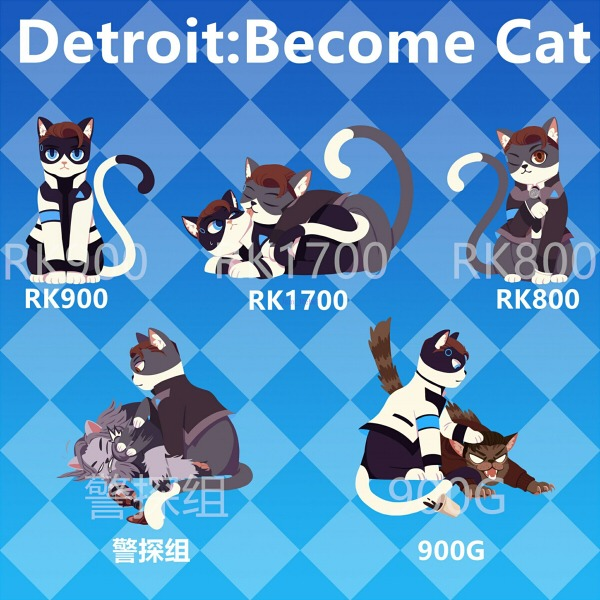 【PRE-SALE!】Detroit : become kitty Acrylic Charms Set /Detroit : become human Hankcon/900Gavin/RK1700 Peripherals BY:鍋巴 底特律:變人 警探組/900蓋/RK1700 周邊 BY:鍋巴