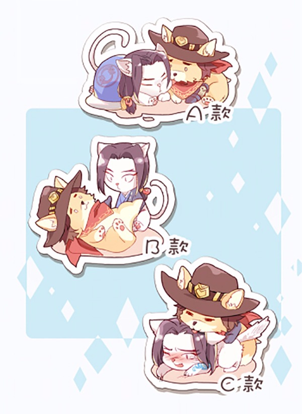 Mchanzo Cat and Dog Acrylic Key Ring / OVERWATCH Mchanzo Peripherals BY:佰川遙  OVERWATCH 麥藏 周邊 BY:佰川遙