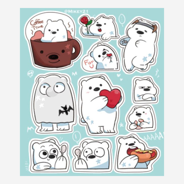 Ice Bear Stickers Set /We Bare Bear Goods BY:Mikey21 熊熊遇見你 周邊 BY:Mikey21