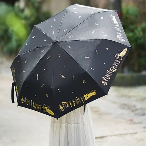 【撐把傘哼首歌】黑色音符雨傘 雨傘、折傘、晴雨傘、貓奴、下雨天