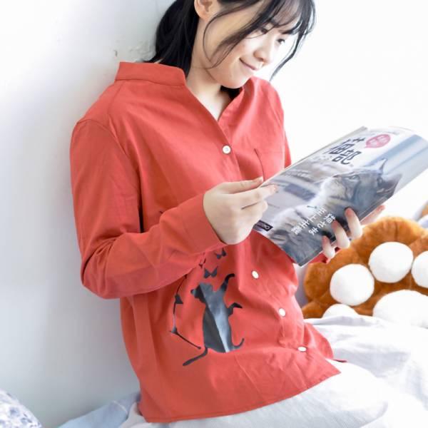 【入秋記得要保暖】小貓棉麻長袖襯衫