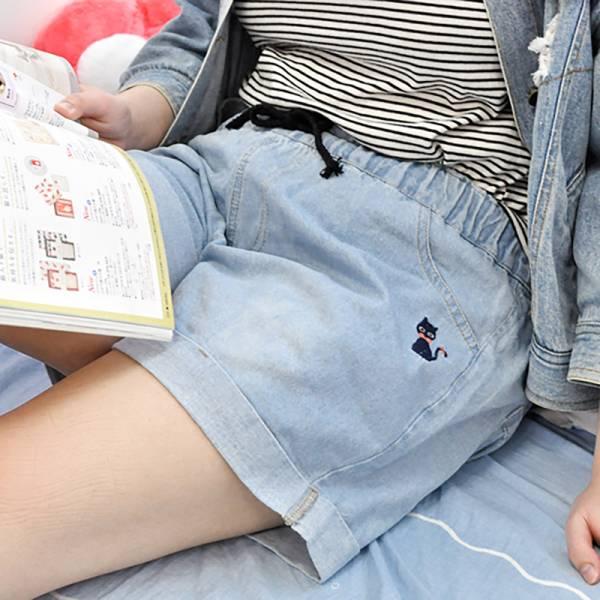 【黑喵短褲夏日趣】黑貓牛仔短褲