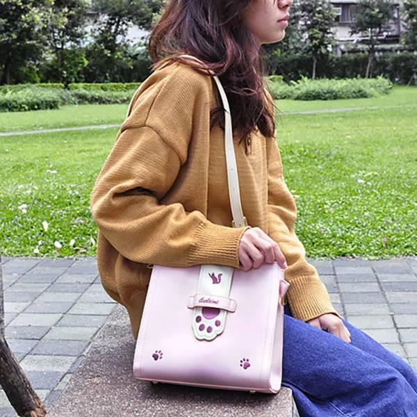 【背一下粉貓掌】側背包 粉紅側背包,貓耳側背包,貓掌側背包