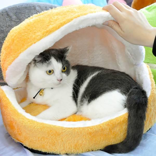 *【喵喵愛睡漢堡包】漢堡貓窩 貓窩,漢堡,溫暖