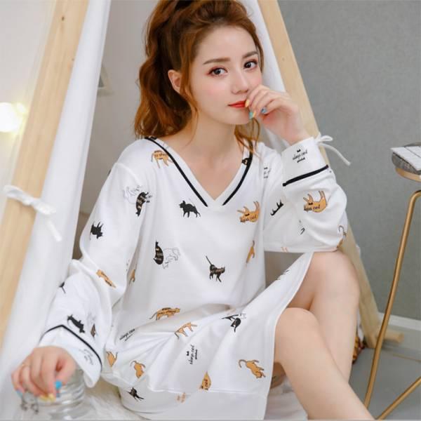 *【與貓兒入夢鄉】長裙睡衣 睡衣,舒適睡衣,貓頭睡衣