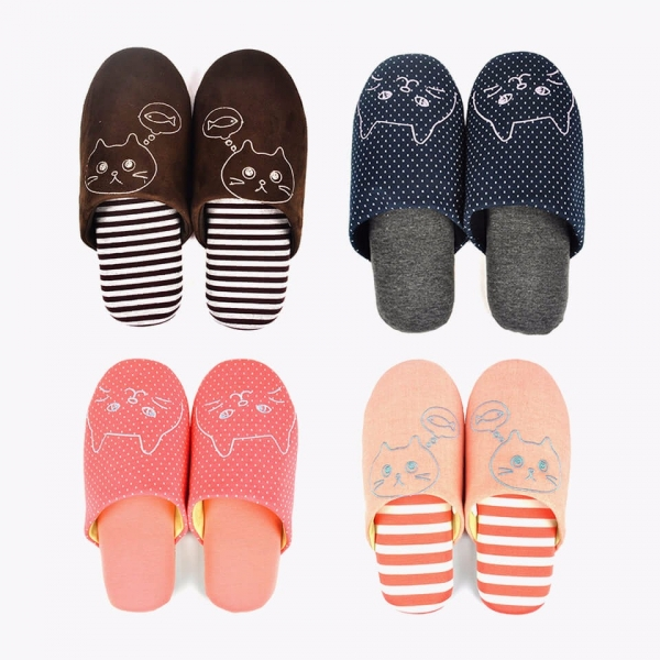 【貓咪刺繡室內拖】棉絨室內拖鞋 室內拖鞋,貓拖鞋,居家
