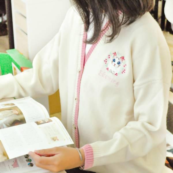 【花環貓咪】V領針織外套