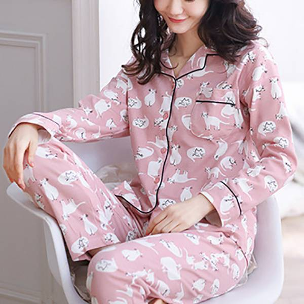 *【喵兒伴入眠】全棉長款睡衣 長袖睡衣、冬天睡衣、粉色睡衣