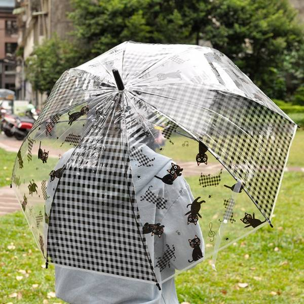 *【撐一把喵星人的透明傘】傘 貓咪長傘,大把雨傘,透明傘