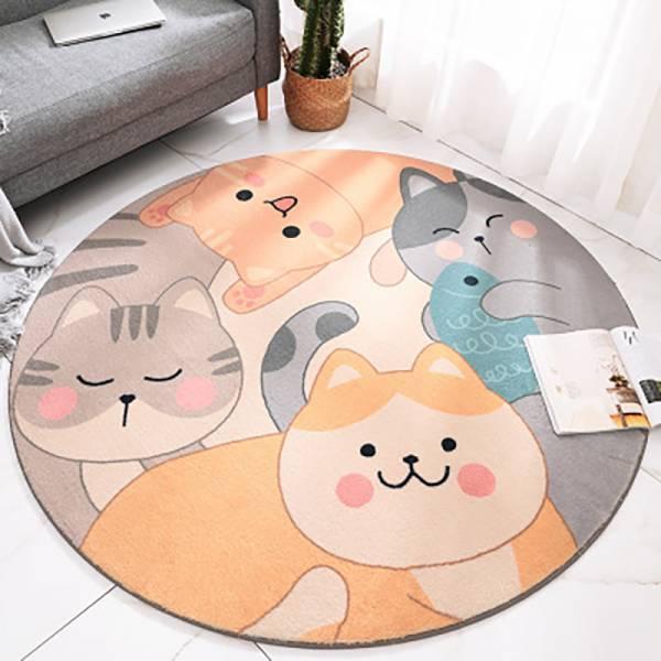 【軟綿綿的喵地毯】圓形地毯 圓形地毯,毛茸茸地毯,舒適短毛地毯
