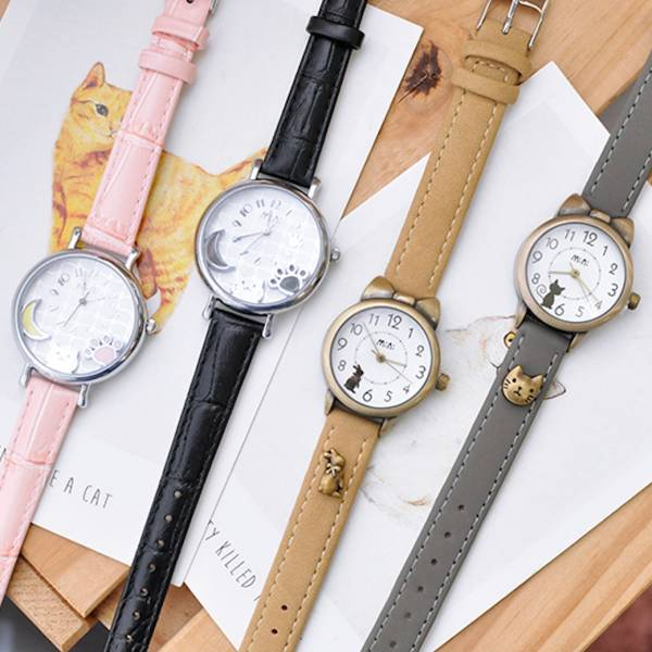 【韓版喵喵可愛錶】錶 貓手錶、復古錶、皮革錶