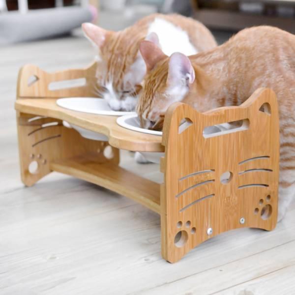 *【喵喵陪喵喵吃飯】可調節升降碗架 可調整升降碗架,陶瓷碗,木頭碗架