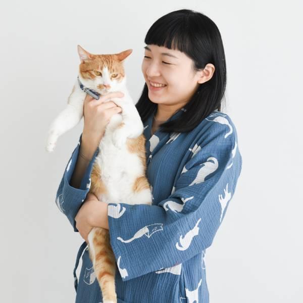 【居家必備的舒適】慵懶白貓和服浴衣睡袍