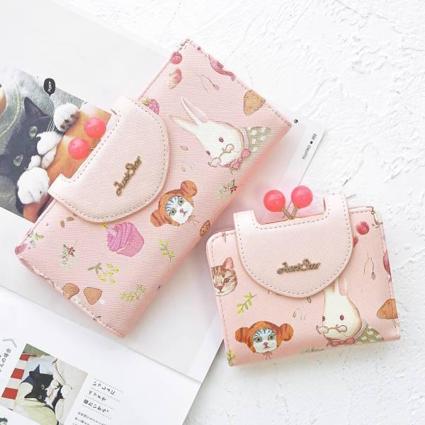 【粉色糖果喵與兔】貓兔錢包